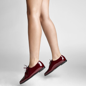 Burgundy leather oxford shoes for women