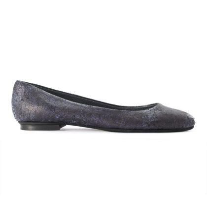 ELENA | Blue Leather pointy toe ballet flats