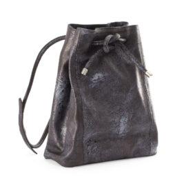 Navy Blue Leather Bucket Bag